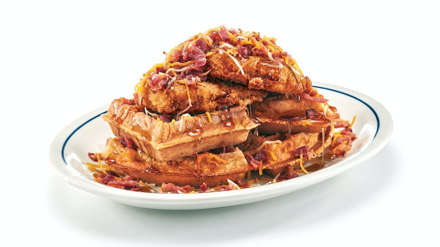 Signature Chicken & Bacon Cheddar Waffles Image